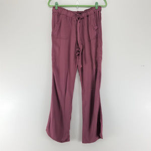 Rewash Wide Leg Drawstring Pants Mauve